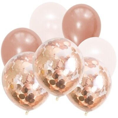 Pearl White & Rose Gold Confetti Balloon Bouquet-Party Decorations-Weddings-