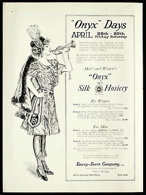 "RARE 1916 ONYX Silk Hosiery Woman Blowing Trumpet ""Onyx Days"" Vtg VOGUE PRINT AD"