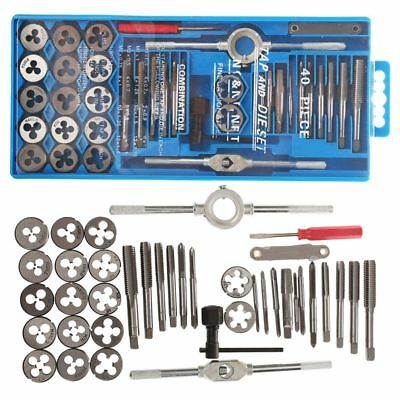 40Pc Professional Metric Tap Wrench And Die Set Cuts M3-M12 Bolts + Case Q1R5