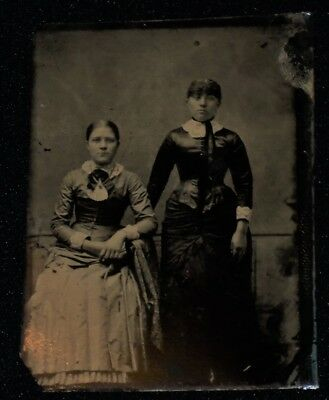 Vintage 1800's 1/6th Plate Tintype of Pair of Ladies/Perhaps Sisters