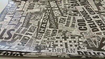 Greaseproof paper, Newspaper Design Fish and chip takeaway,Printed  Free P&P