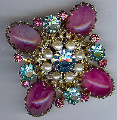Pretty Vintage Dimensional Pink Art Glass & Blue Rhinestones Faux Pearl Pin