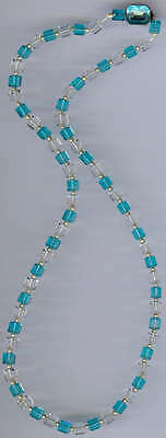 Vintage Art Deco Aqua Blue & Clear Square Crystal Beads Silver Clasp Necklace