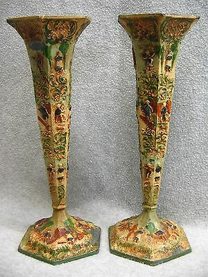 Antique Estate Dutch Plate Vases #53 Pair Dutch Scenes Painted Spelter