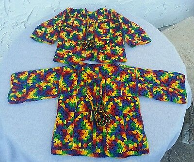 2 Vintage Multi Colored Granny Square Cardigan Sweaters Toddler Pom Pom Tassels