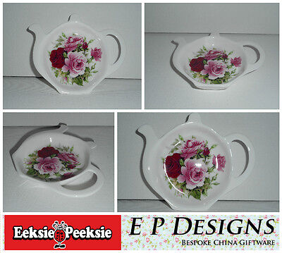 BN Fine Bone China Vintage Floral Rose Tea Bag Tidy, Tea Bag Rest Tea Bag Holder