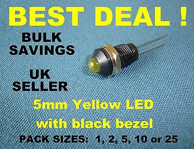Black Plastic Panel Bezel (Chrome edge) with (removable) 5mm Yellow LED Lamp NEW