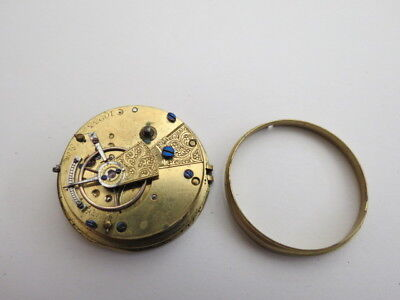 Small Antique Fusee Pocket Watch Movement Dial And Hands