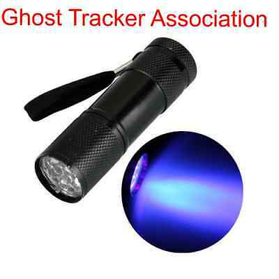 ghost hunting UV torch 9 LED paranormal flashlight ultraviolet equipment lamp UK