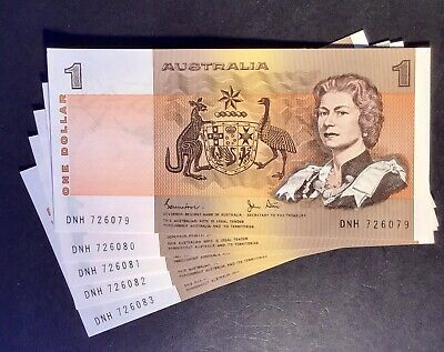 Australian Paper $1 Note Circulated Condition. aUnc And In Sequence X 5. Notes.