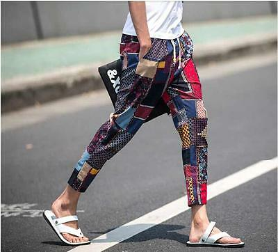 Mens Floral Slim Fit Skinny Trouser Mixed Color Pencil breath cropped pant retro