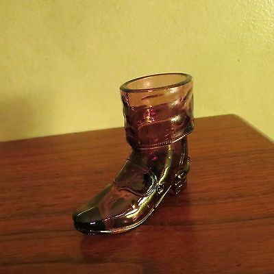Mosser Glass Cowboy Boot Purple Toothpick Holder 1970's FREE SHIP