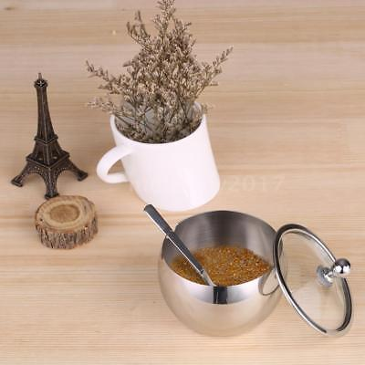Durable Stainless Steel Sugar Bowl with Lid & Sugar Spoon Seasoning Contain F5I6