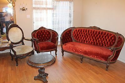 Antique Carved Birds Flower  Ram Head 4 Pieces Victorian Parlor Suite Sofa Chair