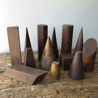 Set Of 13 Circa 1900 Wood Belgian Geometric Shapes Educational Models