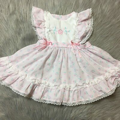 Vintage Baby Girls Pink Floral Lace Ruffle Pinafore Dress