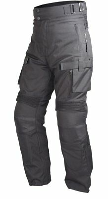Motorcycle Textile Riding Pants Black Vented lined with Four piece Armor PT2