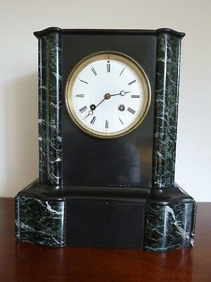 Beautiful Antique French Slate & Marble Mantel Clock  FWO.