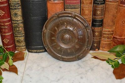 Antique French Carved Wood Rosette Architectural Trim Medallion