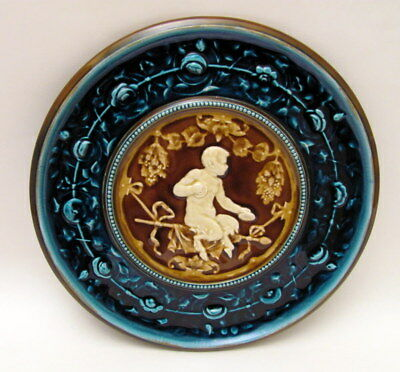 """Hand Painted 12"""" Austrian Schutz Blansko Majolica Charger Plate Wall Plaque"""