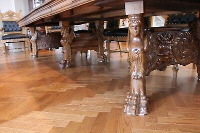 Very Rare Oak Carved Winged Lady Northwind Face Dining Table & 12 Carved Chairs