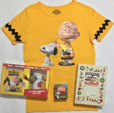 Peanuts Snoopy Charlie Brown Bundle - Bluray With Snoopy Toy T-shirt DVD Boxset