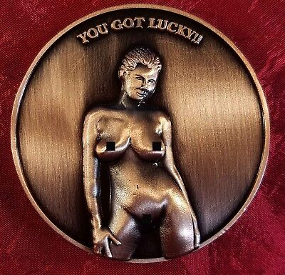 "NUDIE ""YOU GOT LUCKY"" CHALLENGE COIN CARD MARKER PROTECTOR Btz 30"
