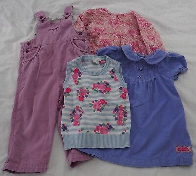 4 JoJo Maman Bebe Bundle Dungarees Dress toddler girls clothes job lot cord