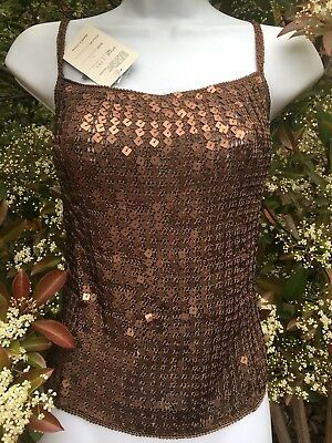 New_Gorgeous_Sequined Crochet Open Back Top_Metallic Cooper Bronze color_Size L