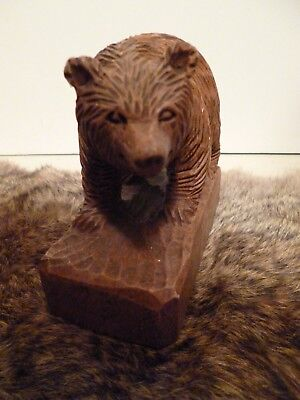 Hand Carved Bear On Stand Carved From Single Piece Of Wood