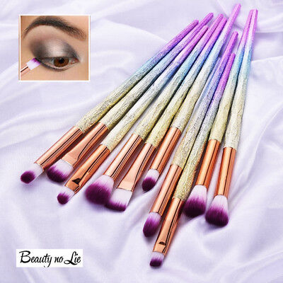10PCS Diamond Unicorn Eyeshadow Eyebrow Blending Brush Set Eye Make-up Brushes