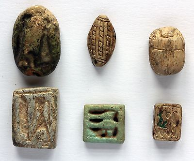 Ancient Egyptian Scarabs and Plaques Sold As Set Of 6