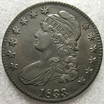 1833 Capped Bust Silver Half Dollar  Circulated