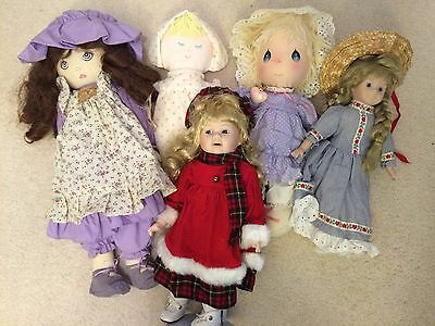 Vintage Dolls Collectibles Cloth Porcelain & Plastic Faces & Bodies Lot of 5 GUC