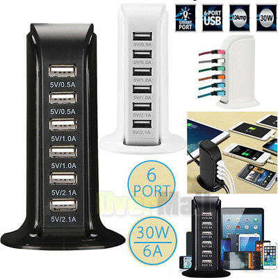 Multi 2 USB Port Desktop Charger Rapid Tower Charging Station Power Adapter 30W