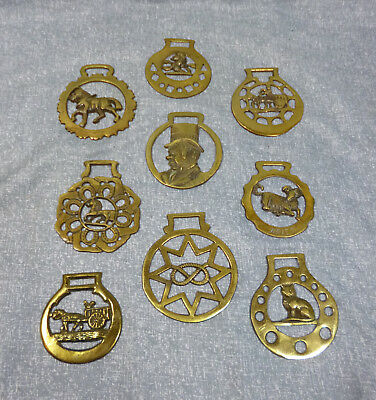 Antique English Horse Brasses - Set of 9
