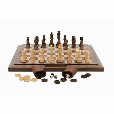 Dal Rossi Chess Checkers Backgammon Folding Walnut Board 40cm