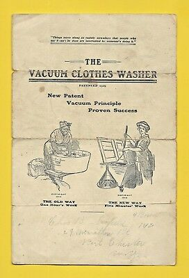 1913 brochure for THE VACUUM CLOTHES WASHER ~ Worn but Scarce.