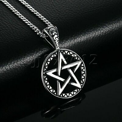 Men Women Silver Wiccan Pentagram Pendant Necklace Chain Stainless Steel Sign