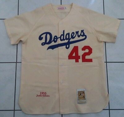 the best attitude ed5da 5d60f get mitchell and ness 1955 dodgers 42 jackie robinson cream ...