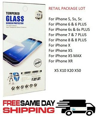 Premium WHOLESALE Lot 9H Tempered Glass Screen Cover for iPhone 5 6 7 8 X XR XS