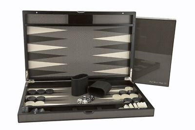 "Dal Rossi 15"" Carbon Fibre Finish Backgammon Set"