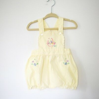 cb033dc54b18 VINTAGE BABY GIRL yellow pinafore romper with floral embroidery 3-6m ...