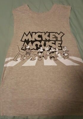 98fa5b467dd3a DISNEY SHIRT SIZE medium MICKEY MOUSE tank top white gray mickey ...