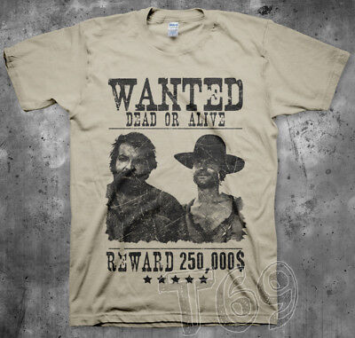 T-Shirt Bud Spencer & Terence Hill Uomo Vintage Wanted Locandina Trinità Western