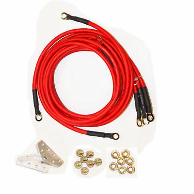 Universal 5-Point Grounding Wire Earth Cable System Kit High Performance RED
