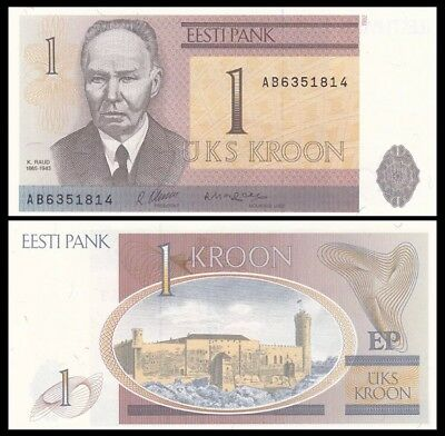 ESTONIA 1 Kroon, 1992, P-69, aUNC World Currency