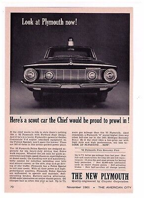 """(2) 1961 Plymouth 'Police Specials"""" """"Look At Plymouth Now!"""" Vintage Print Advert"""