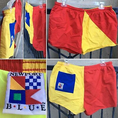 Vintage Newport Blue Swim Shorts Short Shorts 80s Color Block L 1980s