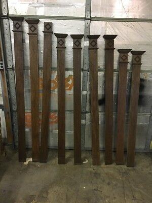 Antique Architectural Salvage Oak Decrative Moldings Lot Of 9